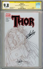 Thor #1 3rd Print Sketch CGC 9.8 Signature Series Signed Stan Lee Michael Turner Marvel comic book